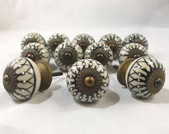 Black Leaf Decorative Ceramic Dresser Drawer, Cabinet or Door Pull Knob - 12 PACK - i727bulk