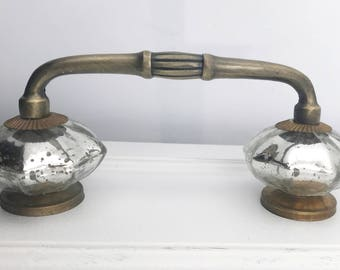 "Mercury Glass Distressed Knobs on Dark Brass Antique Handle, 4"" Spread"