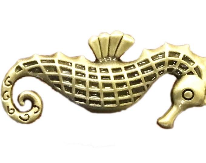 Seahorse Metal Knob, Cabinet Pull, Dresser Knob, Drawer Pull Knob - W51