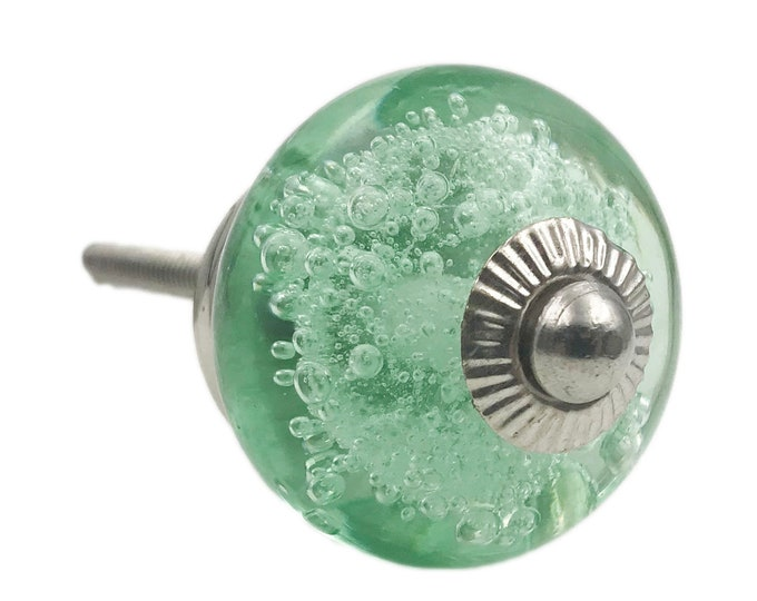Green Glass Bubbles Round, Chrome Hardware Dresser Knob, Cabinet or Drawer Knob