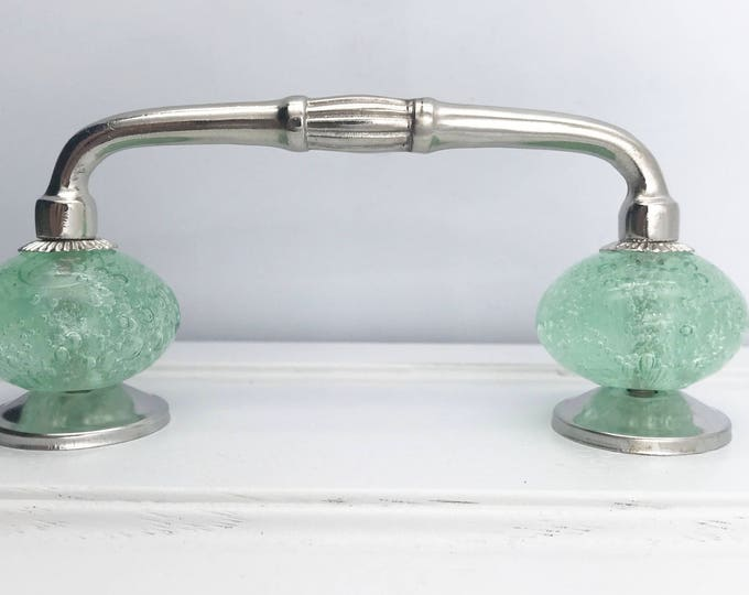 """Green Bubble Glass Knobs on Shiny Chrome Metal Handle, 3"""" OR 4"""" Spread, Chrome Hardware"""