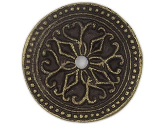 Solid Metal Round Decorative Medallion Back Plate (7 COLORS) for ANY Drawer or Door Knob or Pull