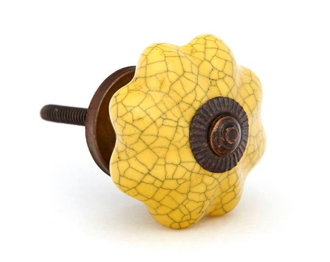 Yellow Crackle Ceramic Drawer Knob, Cabinet Pull, Furniture Knob
