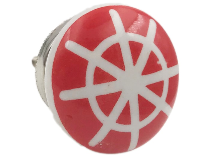 Nautical Boat Helm Ceramic Knob Pull for Cabinets, Drawers or Doors