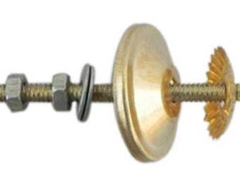 """Gold Knob Bolt, Screw, Fittings for Ceramic & Glass Pulls, 2.5"""" OR 3"""" bolt, Washer, Nut, Metal Flower - Gold Colored"""
