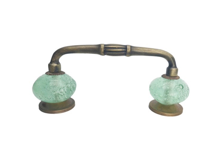 "Green Bubble Glass Knobs on Dark Brass Antique Handle, 4"" Spread"