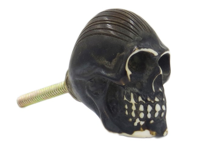 Skull Black Resin Knob Pull for Cabinet, Dresser, Drawers or Doors