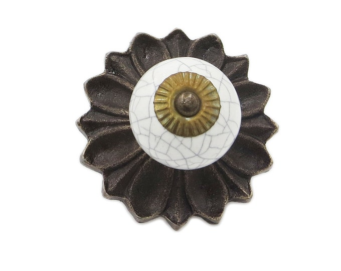 White Crackle, Antique Metal Decorative Back Plate Dresser Drawer, Cabinet or Door Ceramic Knob Pull - i25BP1