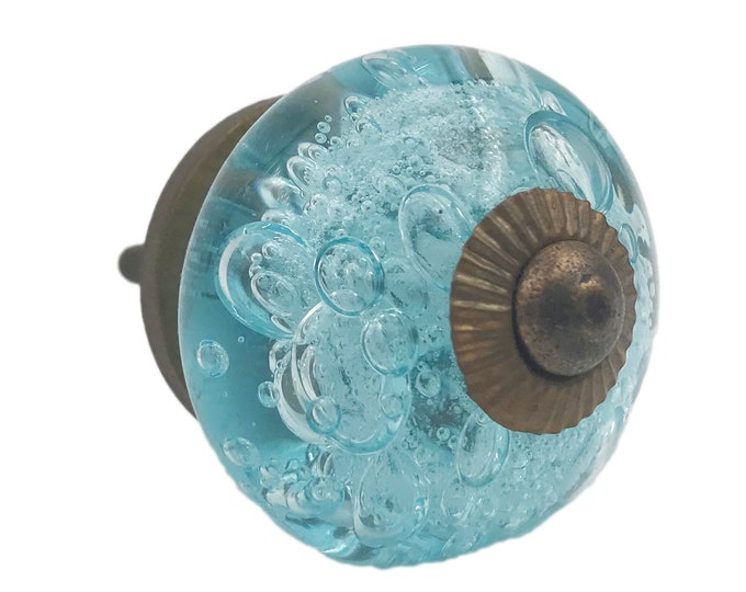 Aqua Blue Bubbles Glass Decorative Dresser Drawer, Cabinet or Door Knob Pull - M101