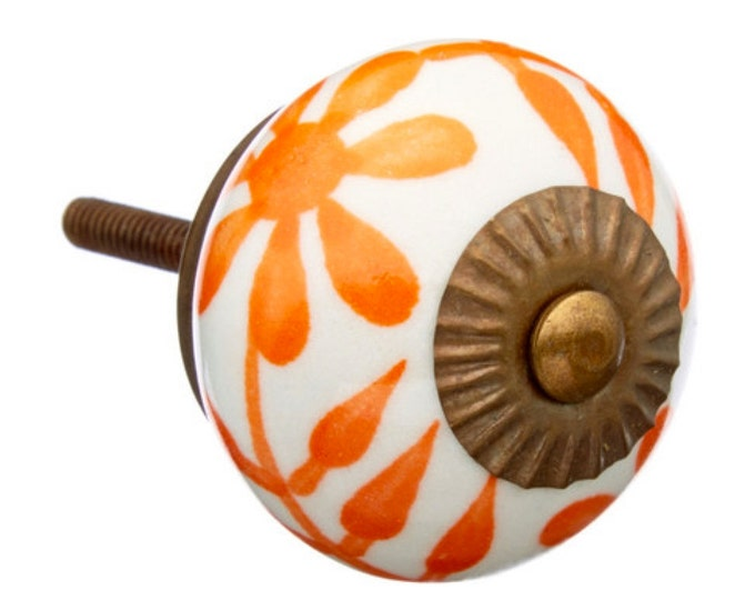 Orange & White Ceramic Drawer Knob, Pull for Dresser, Hutch, Desk, Cabinet