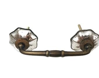 "Mercury Glass Distressed Knobs on Dark Brass Antique Handle, 3"" OR 4"" Spread"