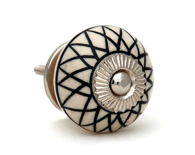 Black Lines Pattern Decorative Knob Pull for Drawer, Dresser, Cabinet or Door - Pack of 12 Knobs - M331sBulk