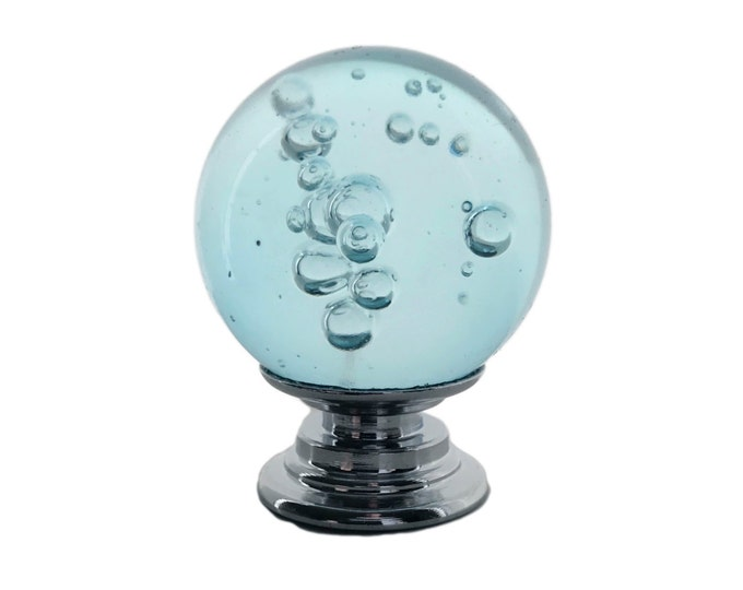 "Aqua Blue Bubble Crystal REAL Glass 1"", 30mm Round Knob, Drawer Pull, Cabinet Pull, Dresser Drawer Pull - C14"