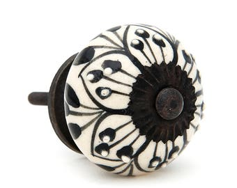 Black Pattern Design Decorative Ceramic Dresser Drawer Pull Knob, Cabinet Pull