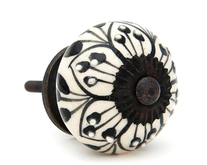 Black Pattern Design Decorative Ceramic Dresser Drawer Pull Knob, Cabinet Pull