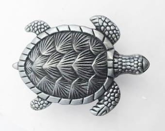Turtle Silver Metal Dresser Drawer, Cabinet Drawer or Door Knob Pull