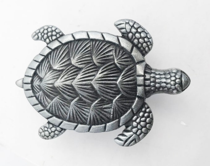 Turtle Silver Metal Dresser Drawer, Cabinet Drawer or Door Knob Pull