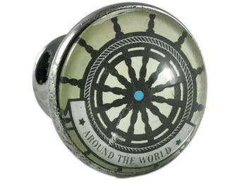 """Nautical Boat Ship Steering Wheel, Helm """"Around the World"""" Glass Drawer, Cabinet or Knob Pull"""