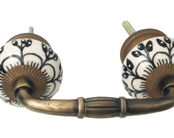 "Black Floral Ceramic Knob on a Bronze Metal Decorative Handle - 3"" OR 4"" Spread"