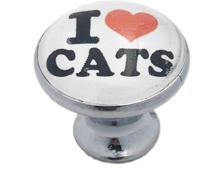 I LOVE CATS Glass Knob for Dresser Drawers, Cabinet Drawers, Kitchen Cabinets