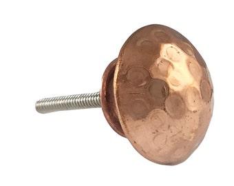 Hammered Copper Round Head Kitchen Drawer Cabinet Pull, Dresser Pulls, Dresser Knobs