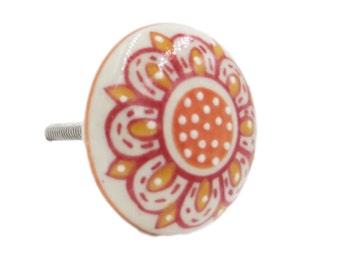 Orange Floral Flat Raised Dots Flat Ceramic Knob Pull for Cabinets, Dressers, Furniture, Doors, Drawers - i743