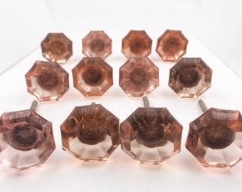 Pink Octagon Glass Decorative Dresser Drawer, Cabinet, Door or Furniture Knob Pull - PACK OF 12, G91-BULK