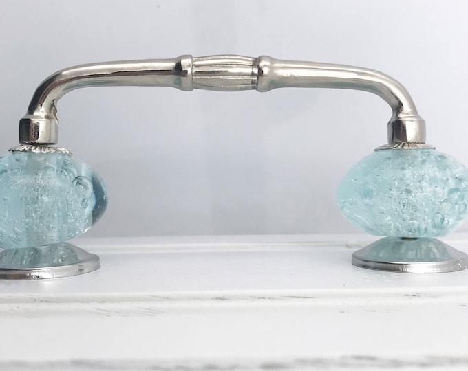 "Aqua Blue Bubble Glass Knobs on Shiny Chrome Silver Handle, 4"" Spread"
