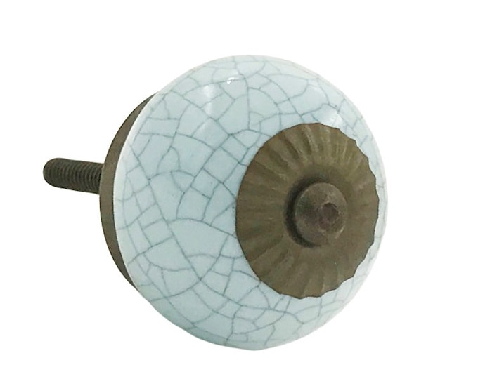 Light Turquoise Crackle Round Ceramic Knob Pull for Dressers, Desks, Kitchen, Bathroom