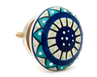 Dianthus Flower Flat Hand Painted Blue, Teal Drawer, Door Pull Knob - i1046