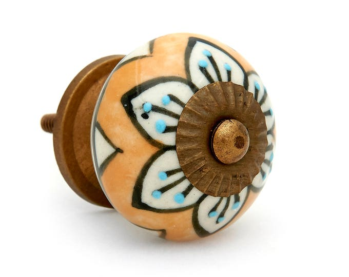 Mustard with Floral Design Round Decorative Ceramic Dresser Drawer, Cabinet or Door Pull Knob - i742