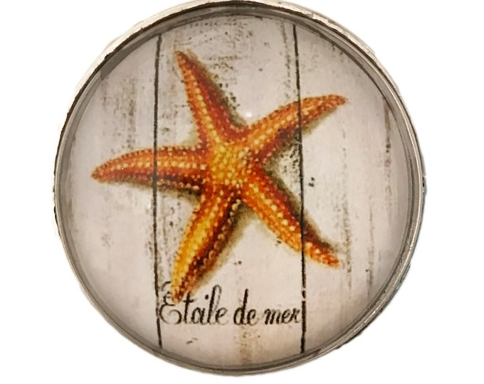 Orange Starfish Ocean, Nautical Glass Knob for Dresser Drawers, Cabinet Drawers, Kitchen Cabinets