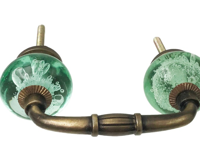 "Green Bubble Glass Knobs on a Dark Brass Antique Handle, 3"" Spread"