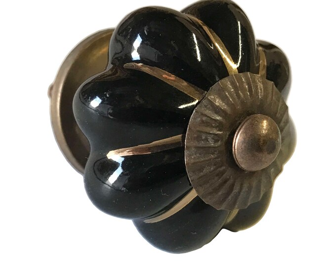Black with Gold Trim ceramic knob, dresser knob, drawer knobs, dresser pull, door pull - M248