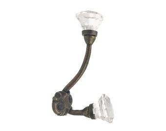 Clear Diamond Cut Glass Knobs on Iron Wall, Coat Hook, Wall Decor, Coat Hook Rack