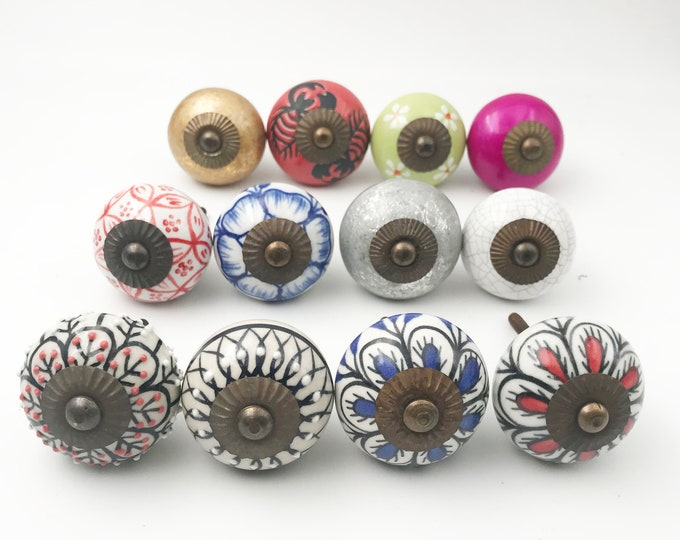 Mixed Colors Batch Variety 12 Pack Ceramic Round Knobs, Drawer Pulls, Cabinet Knobs - Dark Hardware