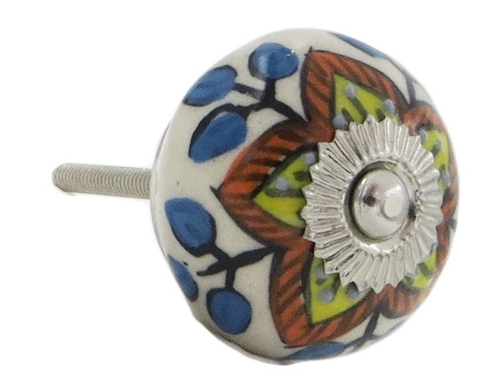 Yellow and Red Floral Design, Kitchen Pulls, Drawer Pulls, Dresser Knobs - Pack of 12