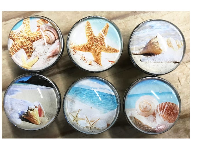 Beach Ocean Themed #2 Decorative Drawer Knobs for Cabinets, Dressers, Doors, Furniture - 6 Pack