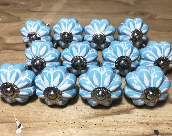 Blue & White Ceramic Dresser Knob, Cabinet Knob, Drawer Knob, Drawer Pull  - Pack of 12 - i368sbulk
