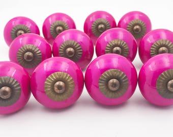 Neon Pink Ceramic Knob Pulls for Dresser, Drawer, Cabinet or Door - 12 PACK - i57Bulk