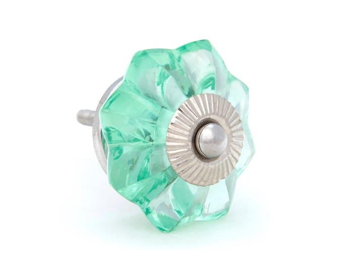 Mint Green Glass Kitchen Cabinet Pulls, Dresser Knobs with Chrome Hardware
