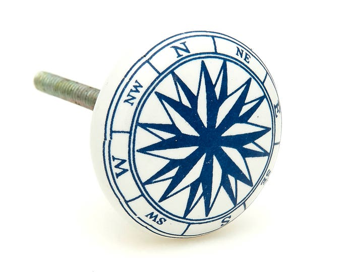 Ocean Nautical Compass Boat Sea, Navy Blue Ceramic Knob Pull for Cabinets, Drawers or Doors