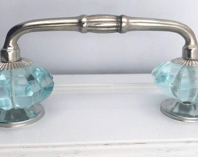 """Turquoise Glass Knobs on Silver Chrome Handle, 4"""" Spread"""
