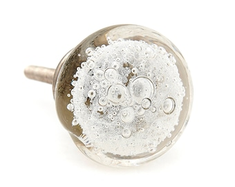 cabinet knobs silver. Perfect Silver Clear Bubbles Round Glass Decorative Dresser Knob Drawer Pull Cabinet  Pull Or Door Knob  G9 Throughout Knobs Silver