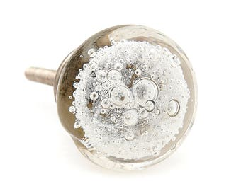 Clear Bubbles Round Glass Decorative Dresser Knob, Drawer Pull, Cabinet Pull or Door Knob
