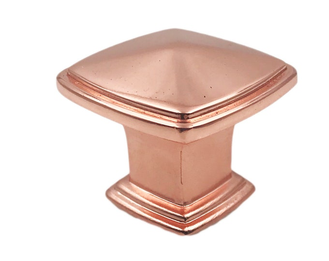 Shiny Copper Square Metal Knobs for Drawers, Cabinets, Furniture