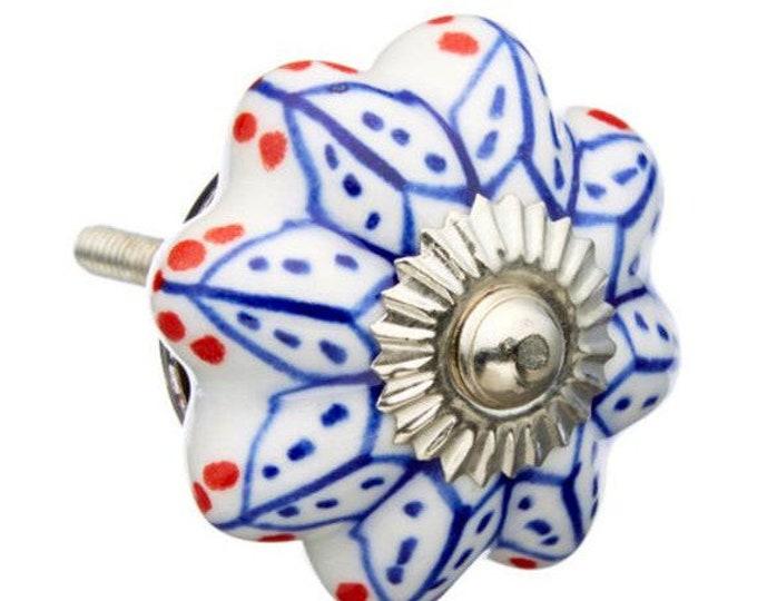 Blue & Red Dots Decorative Dresser Drawer Pull, Cabinet Knob, Ceramic Knob