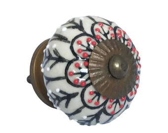 Black & Red Flower Ceramic Knob Pull for Cabinets, Dressers, Drawers or Doors