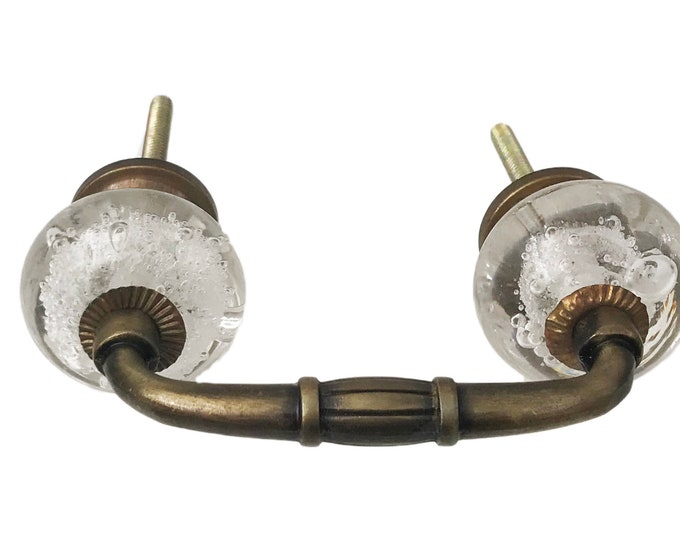 "Clear Bubble Glass Knobs on a Bronze Metal Decorative Handle, 3"" Spread"