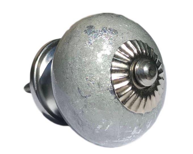 Silver Shiny Ceramic Round Knob, Cabinet Pulls, Dresser Knobs, Drawer Pulls - i80s